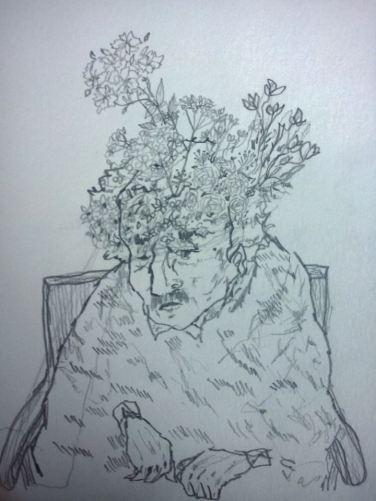 איש עם ענפים ופרחים שיוצאים לו מהראש